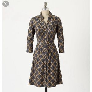 Anthro Maeve Wightwick Manor Corduroy Dress sz 4
